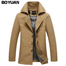 BOYUAN Men's Jackets Spring And Autumn Jacket Men Jaqueta Masculino Chaqueta Hombre Solid Khaki And Dark Blue Fashion Slim BH818(China)
