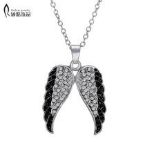 Charm silver plated Necklaces Pendants crystal Necklace Men Vintage Angel Wing Jewelry Valentine's Day gift