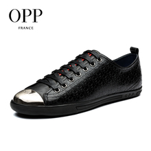 OPP 2017 Autumn Mens Shoes Loafers Men Cow Leather Flats Shoes Casual Lace-Up Shoes Natural Cow Leather Loafers New footwear
