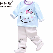 children's clothing sets 2017 autumn christmas clothes GIRLS Cotton brand long sleeve hello kitty print t shirt + pants outfit(China)
