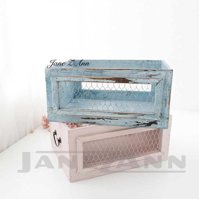 Jane Z Ann Newborn photography props retro hollow frame infant photography baskets baby photo drawer studio accessories