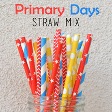 100pcs Mixed Colors Primary Days Paper Straws Australia, Red chevron, yellow rugby stripe, red star, blue striped(China)