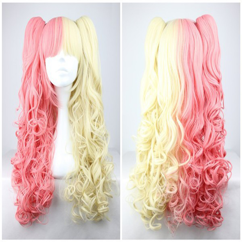 HAIRJOY  Charming Blonde  and Pink Colorful Lolita Long Curly Two Braids Cosplay Lolita Wig<br><br>Aliexpress
