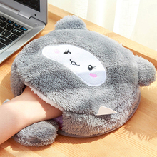 Cartoon Heated mouse pad with wrist rest and USB heater 24*24cm soft plush fabric for laptop desktop computer(China)