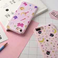 Fashion New Japan Cute Charactor Sailor Moon Luna cat magic bar stars silicon cover For iphone 6 6s plus 7 7plus phone case Capa