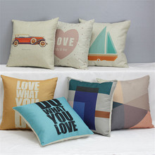 wholesale wedding gift cushion cover Simple personality geometric sailing antique car sofa pillow cover decorative pillow case(China)