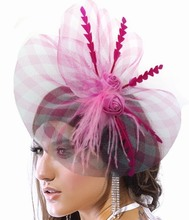 New 2013 Fashion Fascinator Flower Feather Ribbon Cocktail Hat Hair Accessories For Women Couture Headpieces Headdress WIGO0168(China)