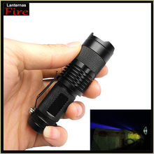 365nm Zoom Purple Violet Light XML q5 uv  365 nm uv led flashlight SK98 torch Bright ultraviolet detector detects by aa or 14500