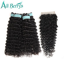 Ali Berrys Hair 3Pcs Brazilian Deep Wave Human Hair Bundles With Closure Free Part Natural Color Non Remy Deep wave Hair Weaving(China)