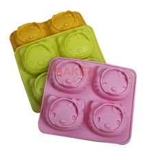 Silicone mold hello kitty 4 holes with two kinds of expression pudding chocolate cake mold jelly molds SICM-001-4