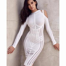 2017 brief elegant long sleeve hollow out off the shoulder bandage dress black white sexy chic summer autumn celebrity vestidos(China)
