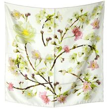 Spring Floral Print 100% Silk Twill Scarf Women's Quality Square Silk Scarves Wraps Shawl Temperament Clothing Accessory