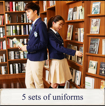 British japanese school uniform for girls and boys high quality winter Senior High School Cardigan Plaid skirt tracksuit 5 sets(China)