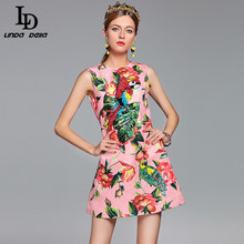2017 Runway Designer Summer Dress Women's Elegant Sleeveless Crystal Button Parrot Sequined Pink Floral Flower Printed Dress(China)