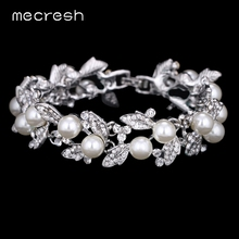 Mecresh Simulated Pearl Bracelets for Women Silver Color Link Chain Crystal Bridal Wedding Jewelry Bracelets & Bangles SL089