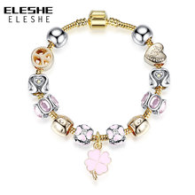 ELESHE Crystal Beads Fit Original Bracelets For Women Friendship Daisy&Petals of Love Heart Charm Gold Chain Bracelet Bangle