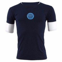Iron Man 3 Tony Stark T-shirt Night Luminous Cosplay Costume Mid-Sleeve t Shirt Tee Navy Blue Top
