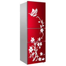 Winding Flower Vine With Butterfly On Top Fridge Sticker Waterproof Wall Sticker