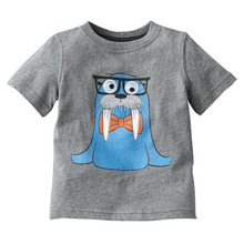Europe and America Children clothes Cotton Cartoon Short sleeve Childrens clothes 1-5 years old Boys T-shirt(China)