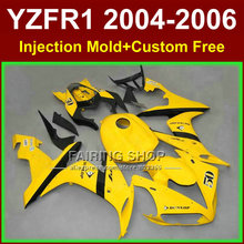 Custom Injection ABS fairings kits for YAMAHA R1 2004 2005 2006 YZFR1 04-06 YZF 1000 bright yellow motorcycle body fairing parts(China)