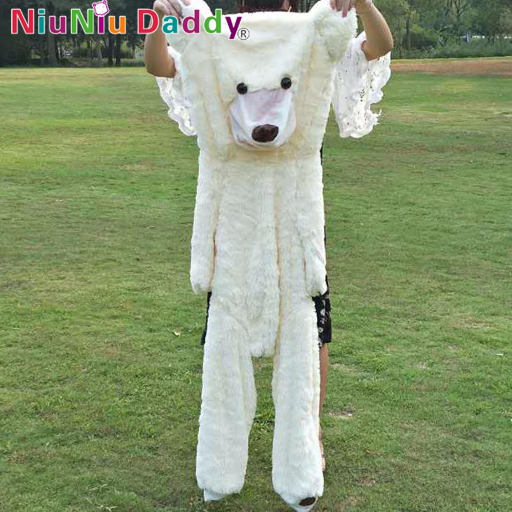 Niuniu Daddy 160cm White Semi-finished American Bear Giant Teddy Bear Skin Plush Toy USA Bearskin Chritsmas Gifts Free Shipping<br>