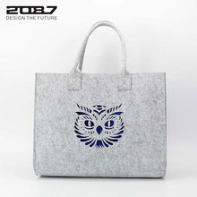 2087 New Design Fashion Handbag Felt Women Female Gift Bags Hollow Out Cute Owl Women Shopping Handbag High Qulity Casual Totes(China)