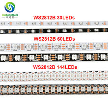 5v ws2812b digital smd 5050 30 60 74 96 144 leds rgb led strip ws2812 flex tape ws2811 led light,tv Arduino,ambilight,backlight(China)