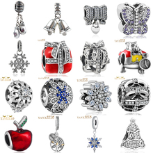 hot 925  silver European cubic zirconia Charm Beads Fit Pandora Style Bracelet Pendant Necklace DIY Jewelry Originals