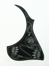 "Acoustic Guitar Pickguard Guitar Pick Guard Fits 40"" 41""42"" Size black&white -- all flowers"