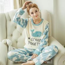 Cute Pajama Set Online Made in China Hedging Sleepwear Warm Pajama Feminino Two Piece Set Arctic Velvet Autumn Winter Animal Paj(China)