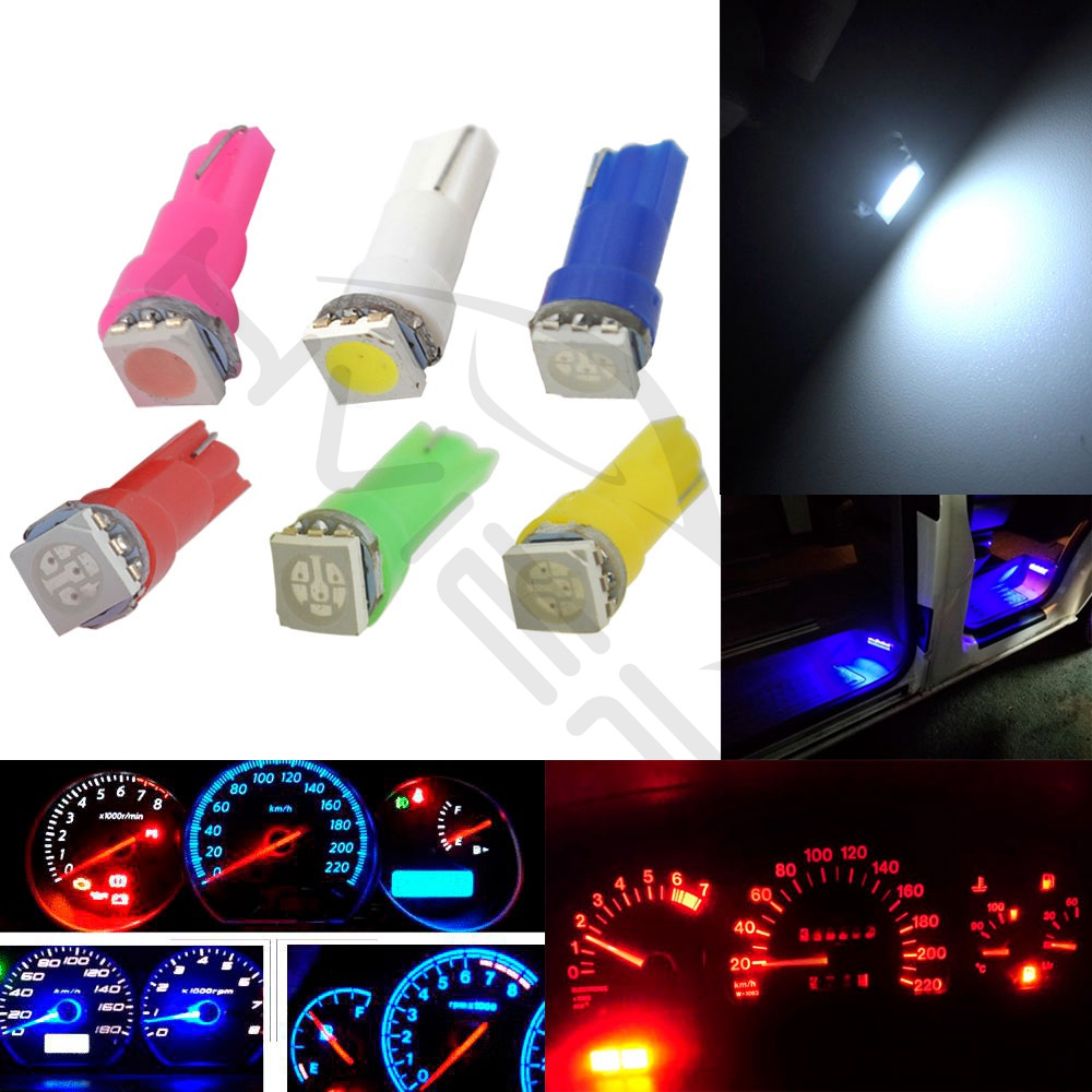 Hviero T5 5050 1SMD Wedge Led Dashboard White Red Blue Green Yellow Pink Car Auto Light Interior Interior Bulb Side Lamps DC 12V