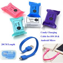 Candy Lovely 20CM Short Micro USB Cable 8 Pin USB Charger Charging Adapter for iPhone 5 5s 6 6s 7 plus Samsung HTC LG Xiaomi