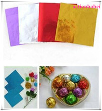 500pcs Sweets Candy Package Foil Paper Chocolate Lolly Foil Wrappers Square mixcolor Free Shipping