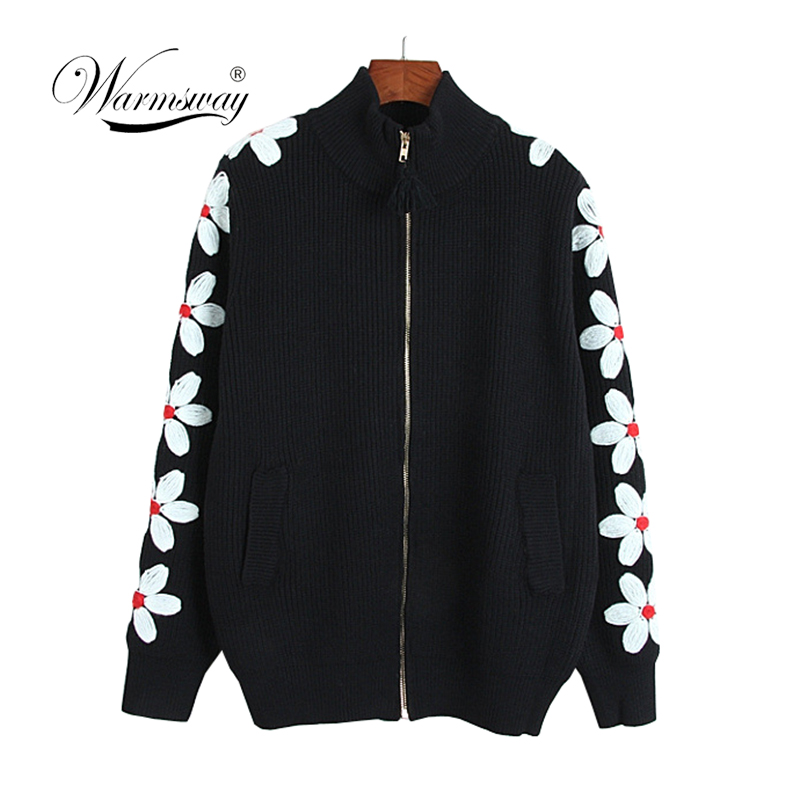 2019 New Spring Autumn Women Lady Daisy Floral Embroidery Zipper Jackets Fashion Bomber Jacket Coat Casual for Girls  C-387