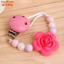 Buy Baby Kids Silicone Chain Clip Holders Flower Pacifier Soother Nipple Leash Strap for $2.07 in AliExpress store