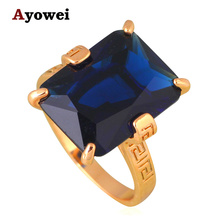 Blue Crystal Rings Golden Element  Gold color Wholesale Fashion Jewelry Rings USA sz #6#7#8#9#10 JR2128A