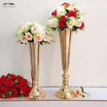 10PCS/LOT 50cm/60cm Floor Vase Metal Flower Vase Table Centerpiece For Mariage Metal Flowers Vases For Wedding Decoration 002(China)
