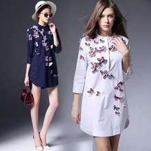 Women Embroidery Blouse New Fashion 2017 Spring Ladies Tops 3/4 Sleeve Female Office O neck Casual Long Shirts Plus Size OM193