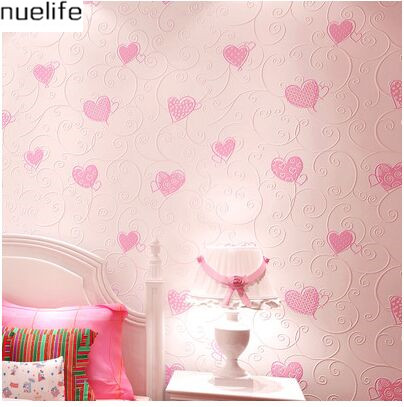 0.53x10m Cartoon Heart Patterns Wallpapers Boys Girls Bedrooms Restaurant Background Walls Nonwovens 3d Wedding Wallpapers<br>