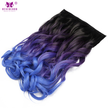 Neverland Clip In One Piece Synthetic Wavy Hair Extensions With 5 Clips Ombre Two Tone Color 20inch 50cm Women Hairpiece Wigs