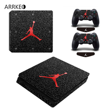 ARRKEO Basketball Logo Super Star Vinyl PS4 Slim Skin Sticker for PlayStation 4 Slim Console & 2 Controllers Free LED Light Bar