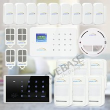 HOMSECUR LCD Wireless GSM SMS Home Security Fire Alarm System (Support EN / ES / FR / IT Menu & Voice) + Password Keypad