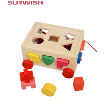 Surwish 15 Holes Pull Along Car Wooden Shape Sorter Early Education Toy For Kids