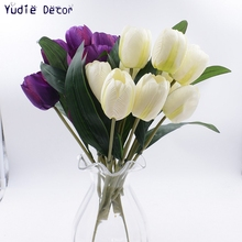 1 bunch  Valentine Gift  Artificial Fragrant bouquet of tulips flowers for DIY art Marriage room party decoration Craft wall