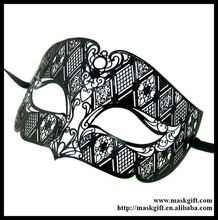 MD005-BK Free Shipping Man Mask Design Venetian Metallic Laser Cut Man Masquerade Ball Masks No Rhinstones(China)