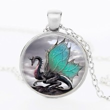 2016 Blue Dragon Necklace Handmade glass dome Jewelry Long art Photo Necklace Charm Fantasy wing Dragon Jewelry free delivery