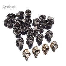 Lychee 20 Pieces/Set Novelty Skull Shank Button Decorative Metal Jeans Buttons Craft For Sewing(China)