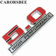 CARORSBEE 3D Metal 5.0 HIGH PERFORMANCE Emblem Badge Car sticker displacement Auto Side Fender digital Decals For ford mustang(China)