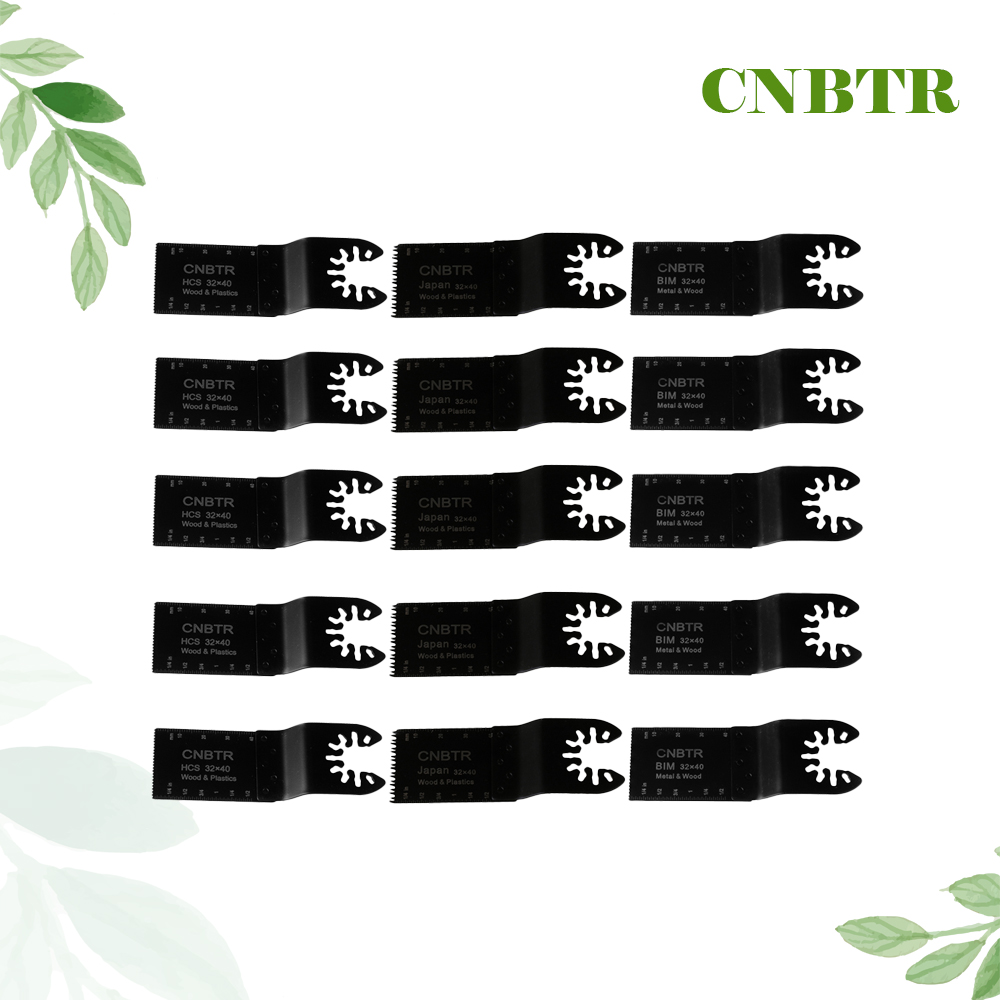 15PCS CNBTR Black HCS &amp; M42 HSS MultiTools Quick Release Oscillating Saw Blade <br>