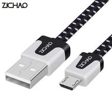 ZJCHAO Micro USB Cable 1M/2M/3M Length Android Phone Tablet PC USB Data Sync Charging Cable Flat Noodle Fabric Braided USB Cable